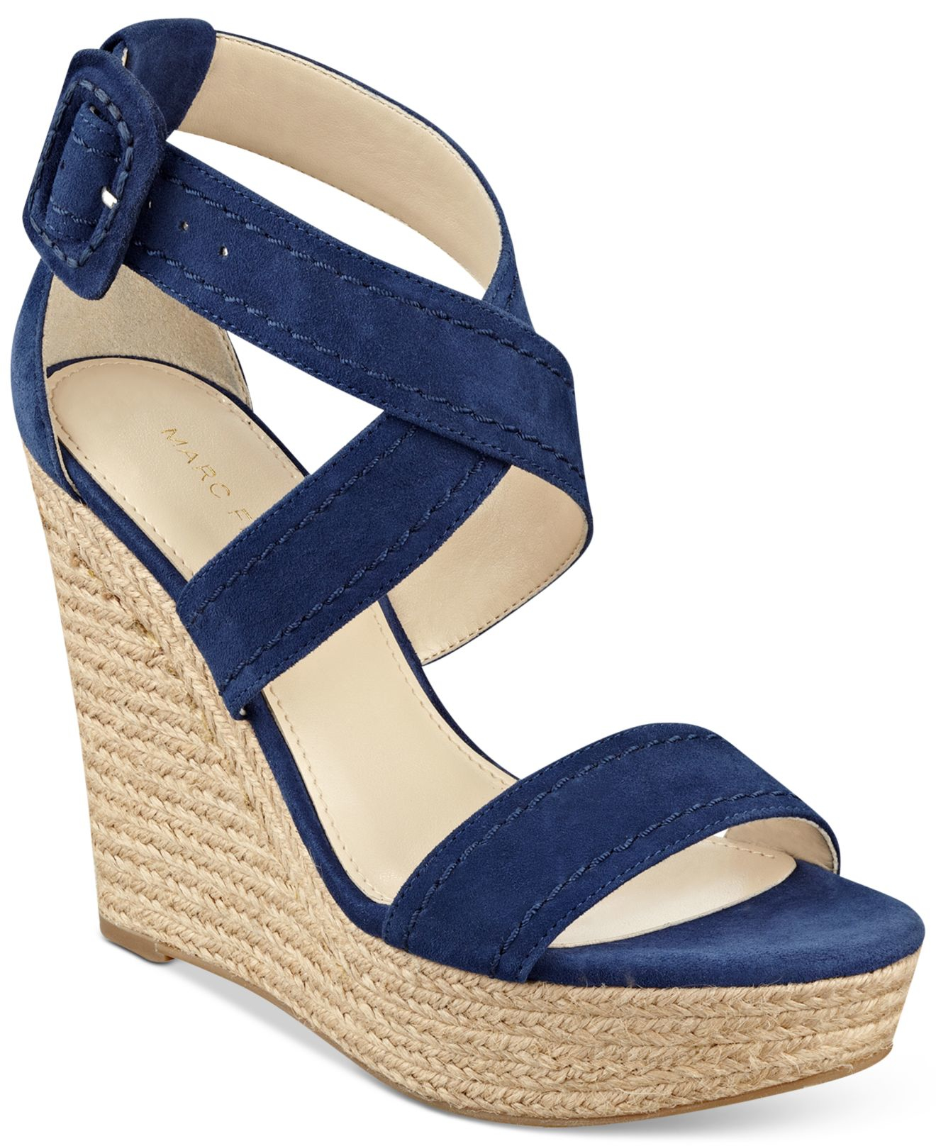 79d5f05e845fbd Lyst - Marc Fisher Haely Platform Wedge Sandals in Blue