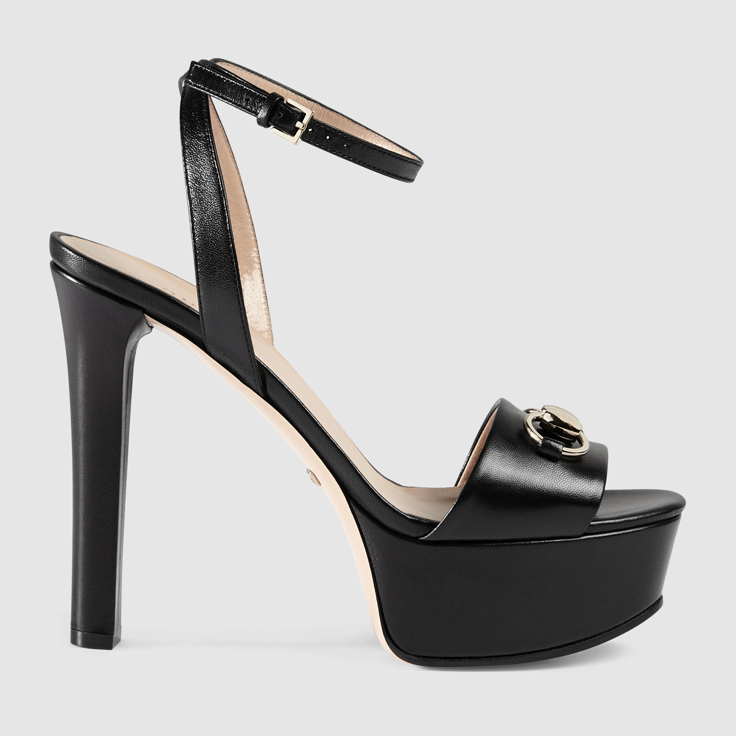 468b2ad6243 Lyst - Gucci Leather Platform Sandal in Black