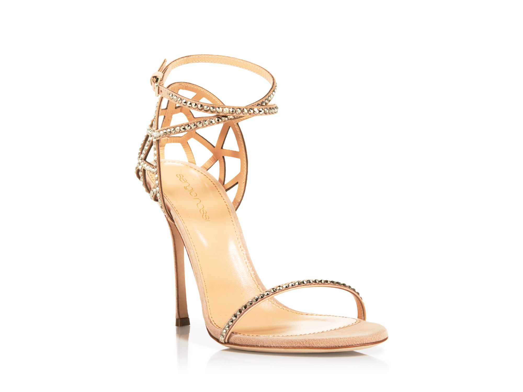 Sergio rossi Strappy Sandals - Puzzle High Heel in Natural | Lyst