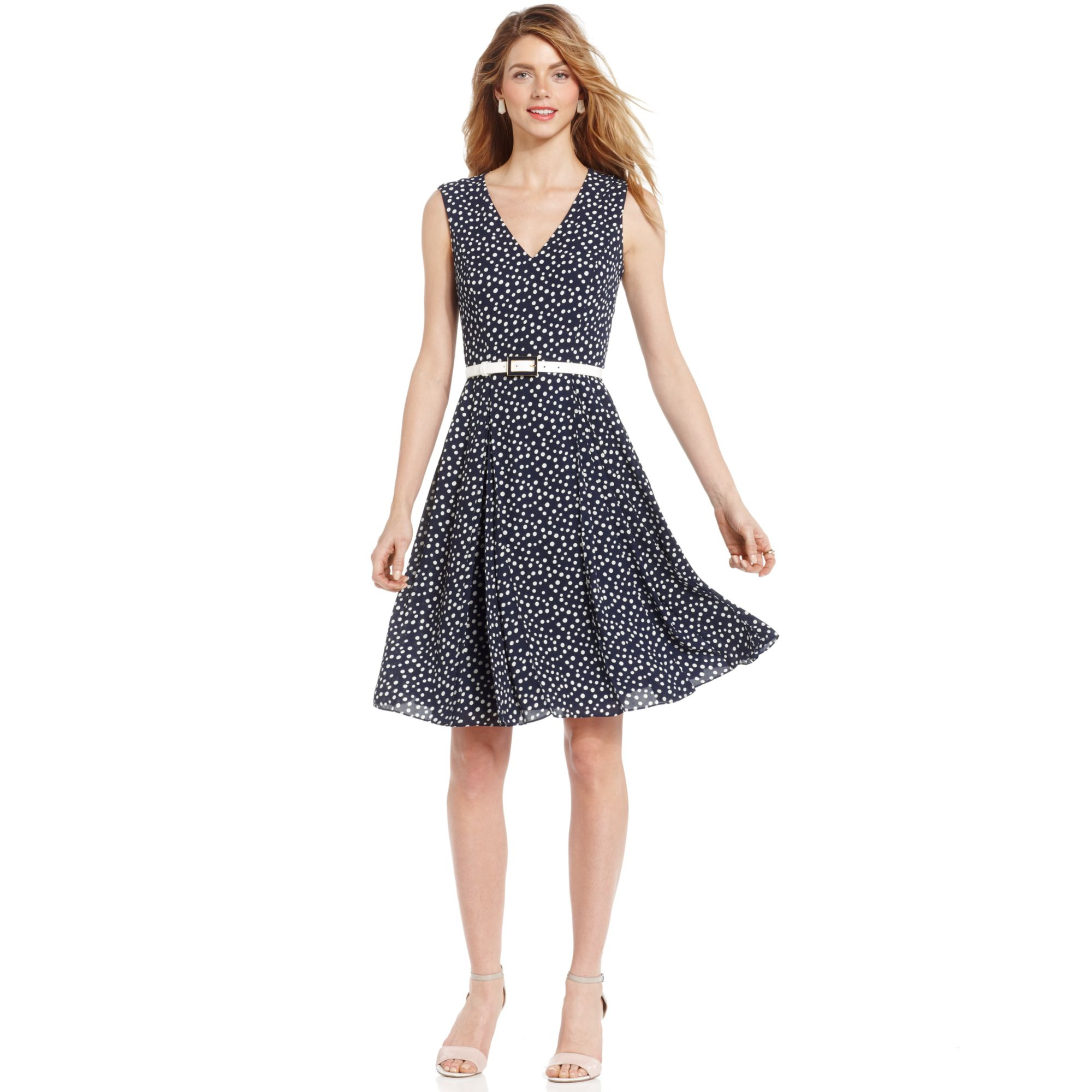 Lyst Anne Klein Petite Sleeveless Belted Polkadot Dress