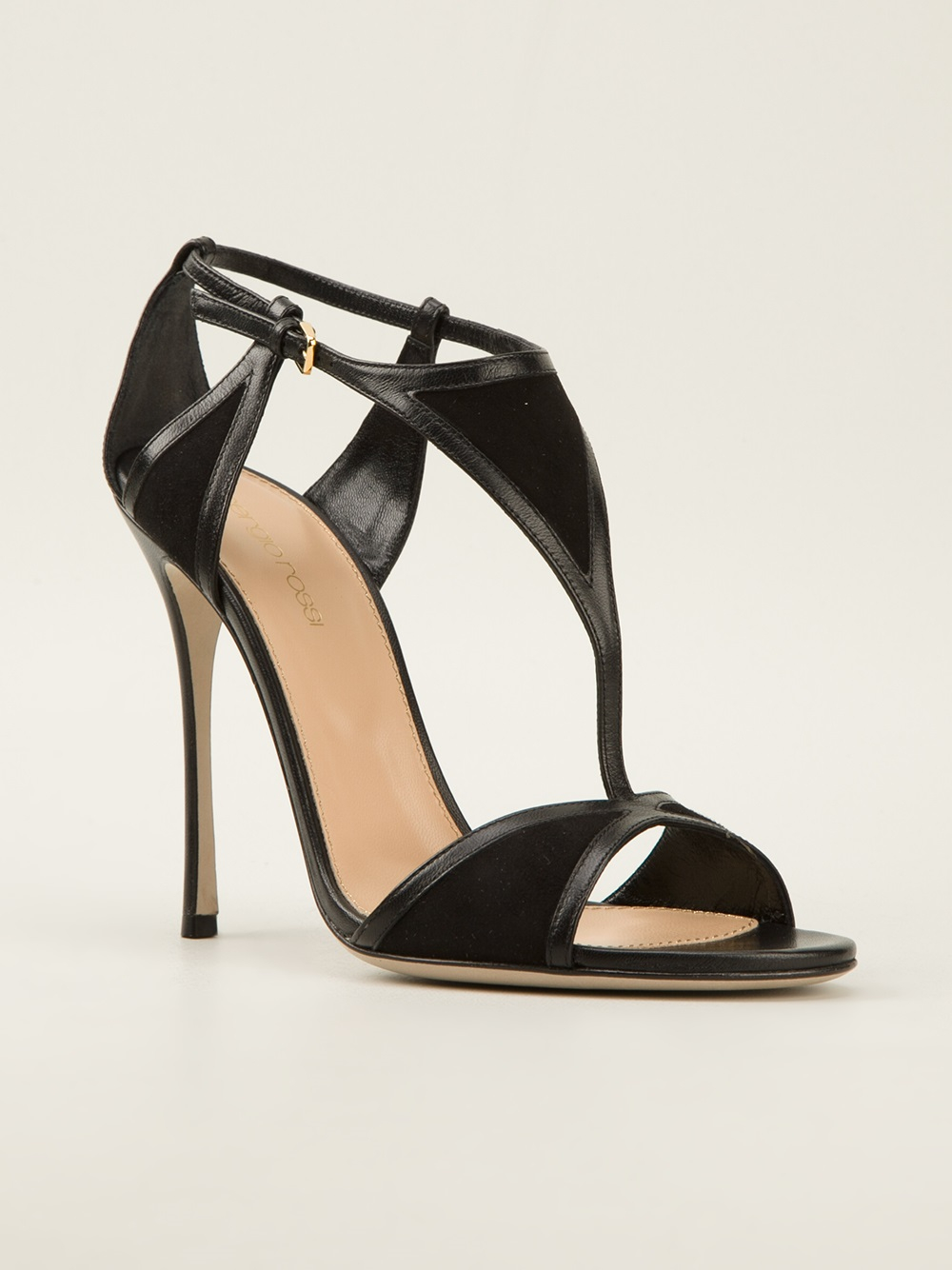 sergio rossi geometric panel sandals in black lyst. Black Bedroom Furniture Sets. Home Design Ideas