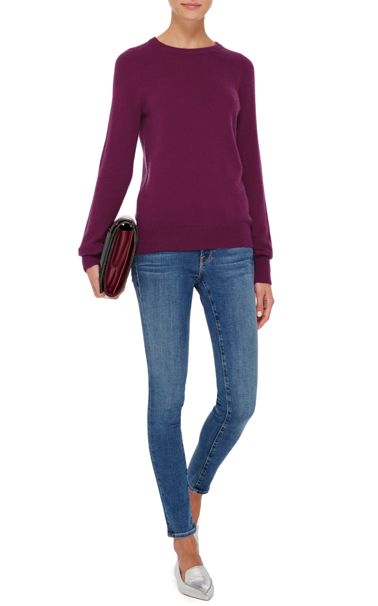 Equipment Dark Red Cashmere Sloane Crewneck Sweater in Purple | Lyst