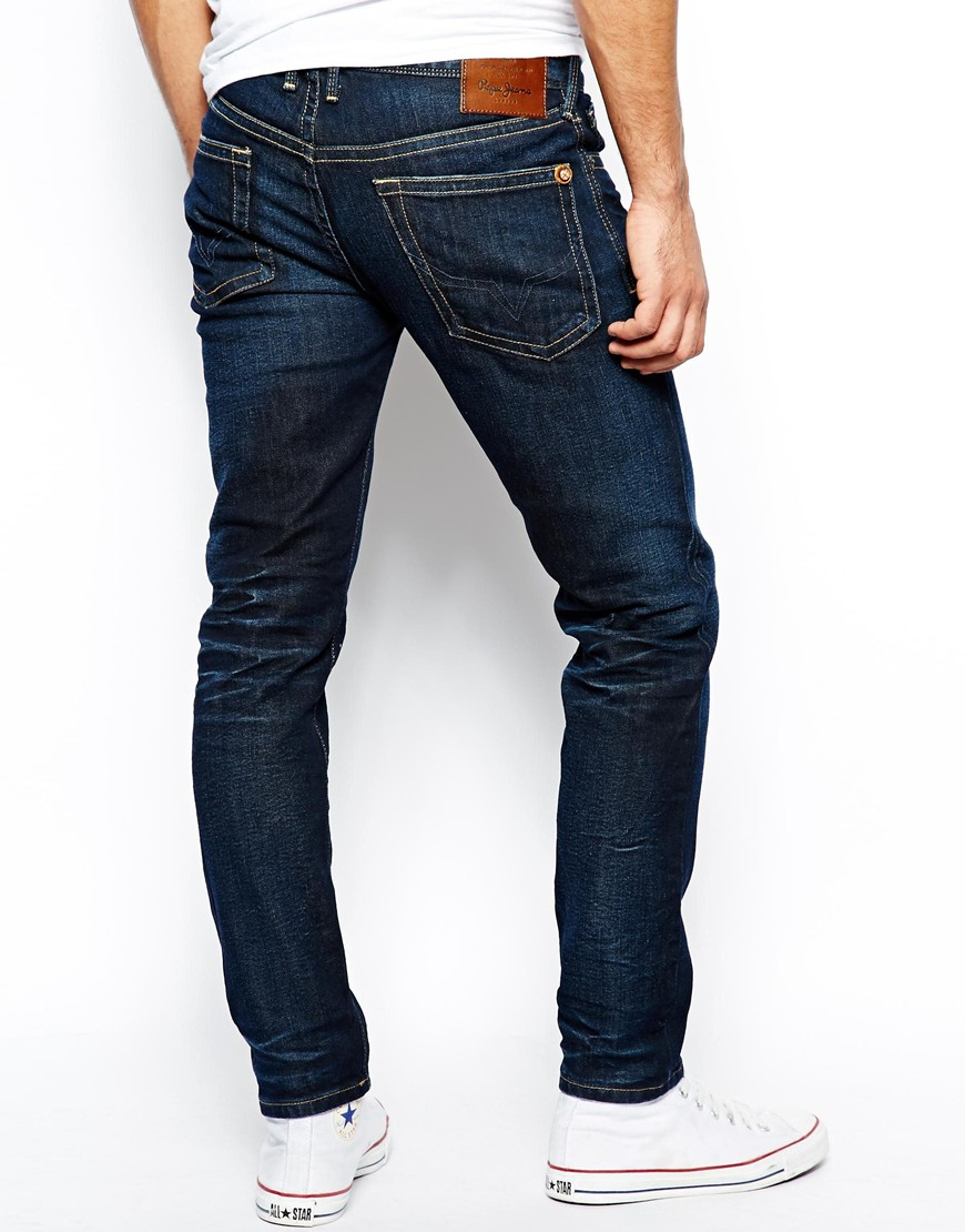 lyst pepe jeans hatch slim tapered fit dark wash in blue. Black Bedroom Furniture Sets. Home Design Ideas