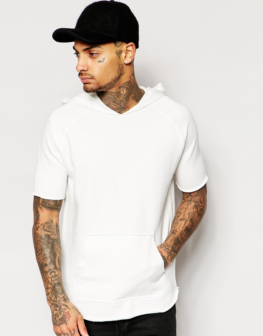 Lyst Asos Short Sleeve Hoodie With Raw Edges In Off