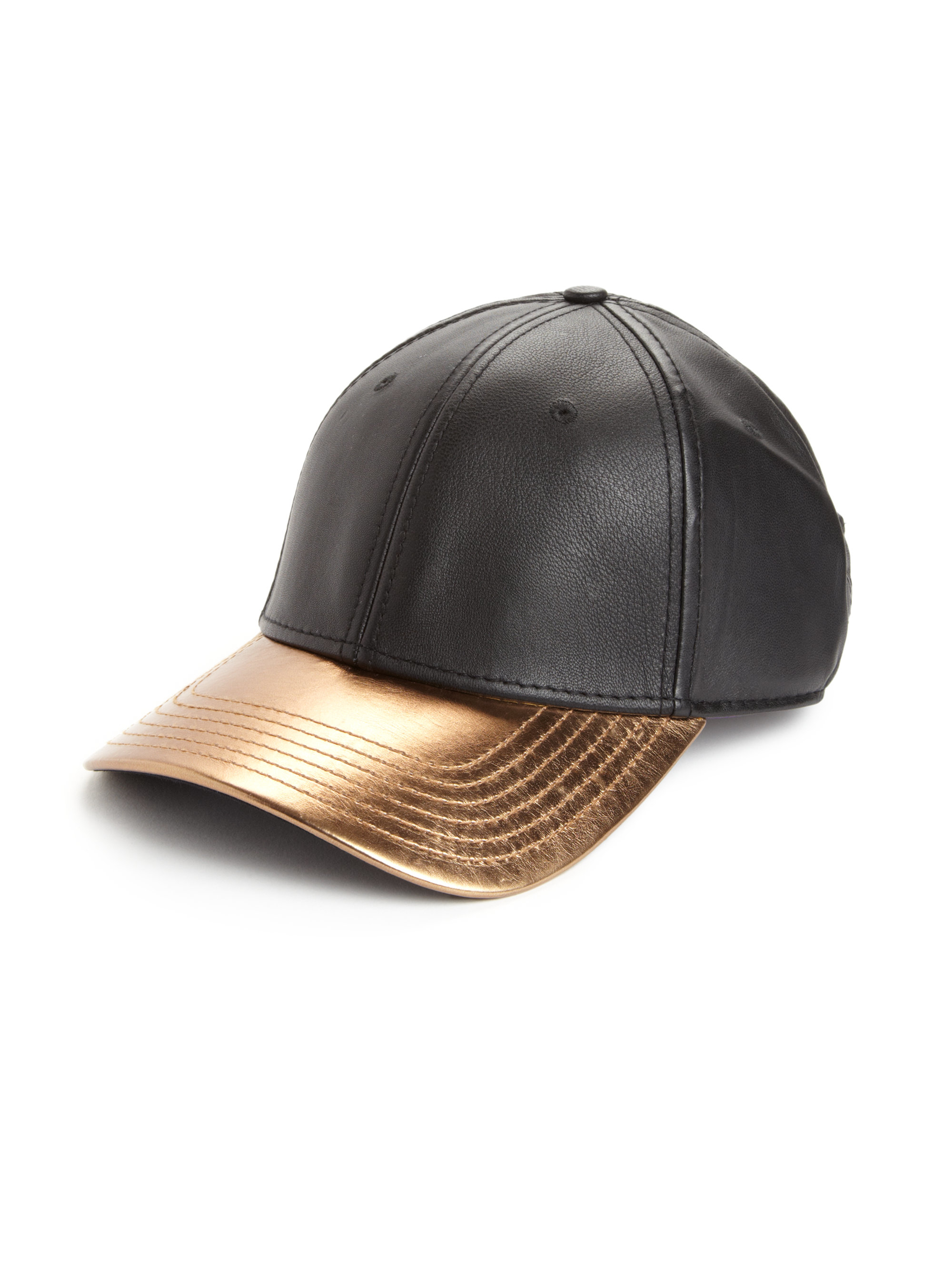 gents leather baseball cap in metallic for lyst