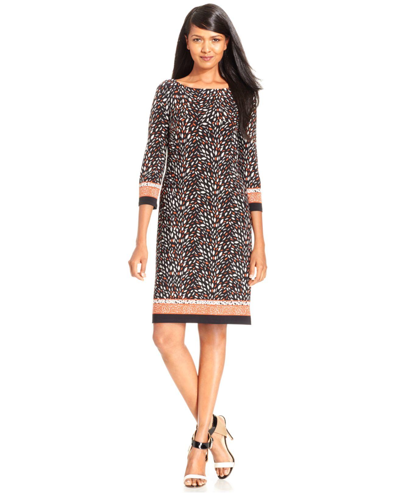 Nine West Batik-print Shift Dress In Brown