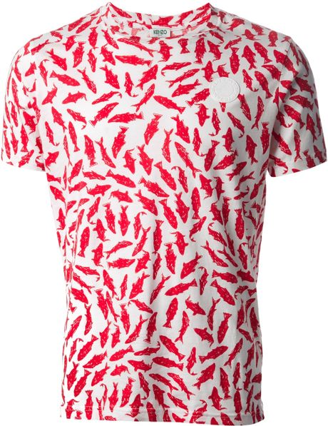 Kenzo fish print tshirt in red for men white lyst for Fish print shirt