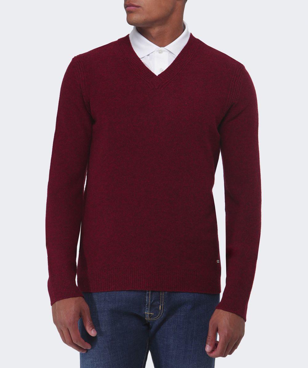 Lyst Boss Orange Acestas Wool V Neck Jumper In Red For Men