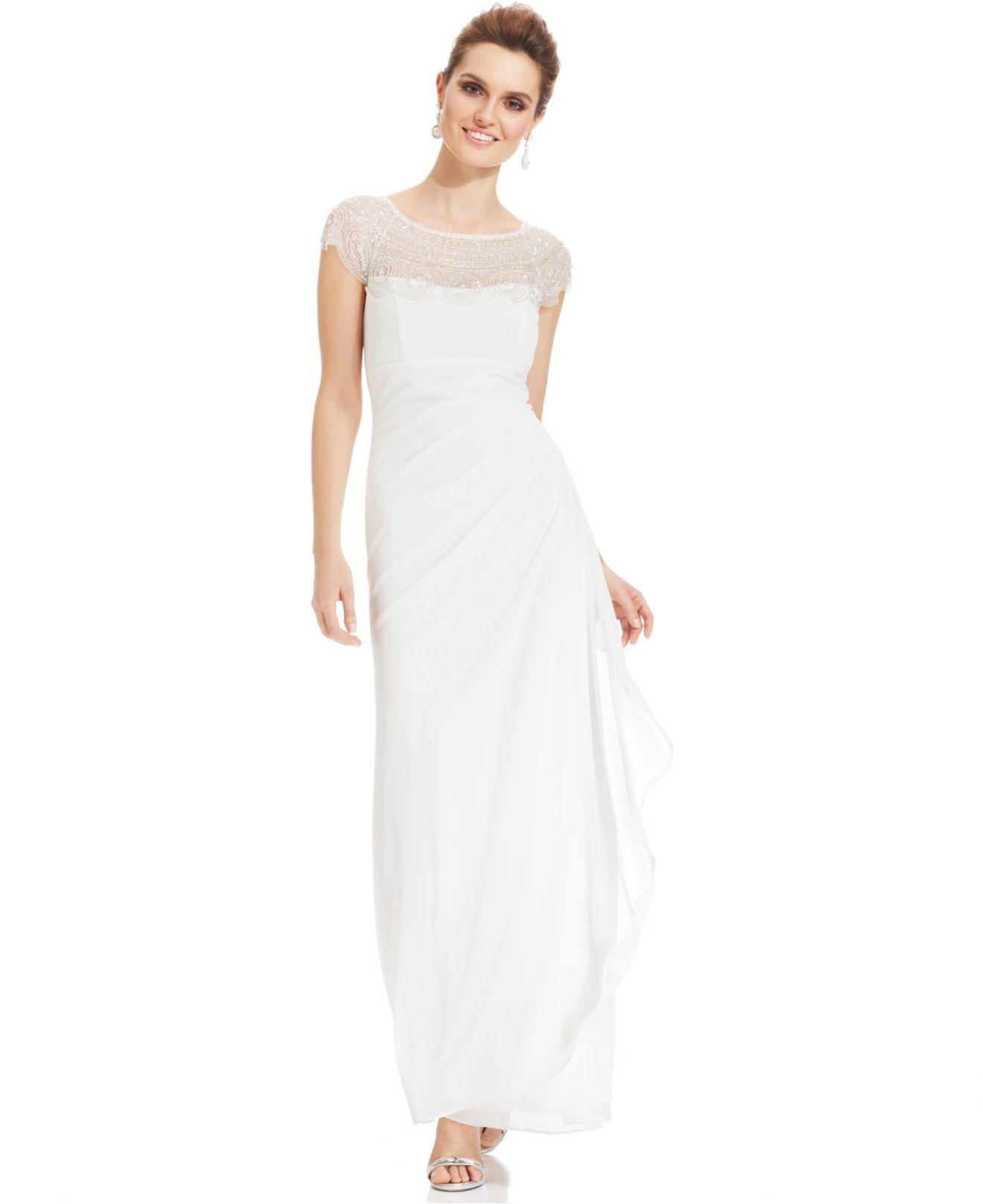 Xscape cap sleeve lace dress white