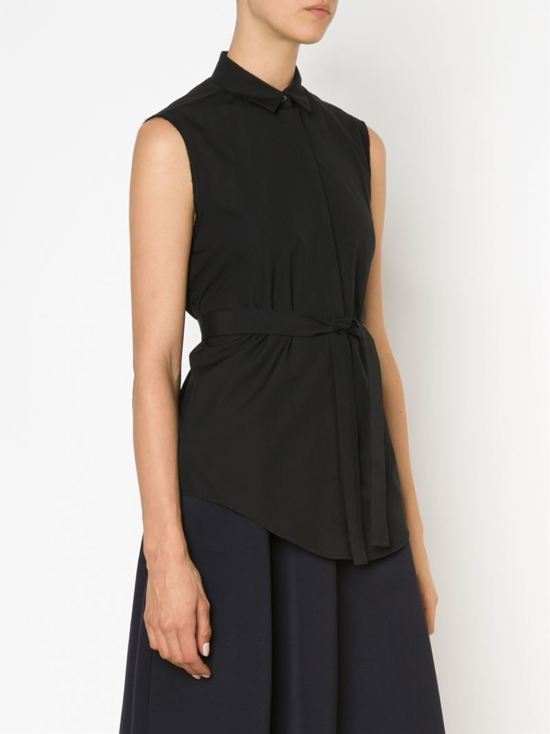 Lyst Tome Open Back Sleeveless Shirt In Black