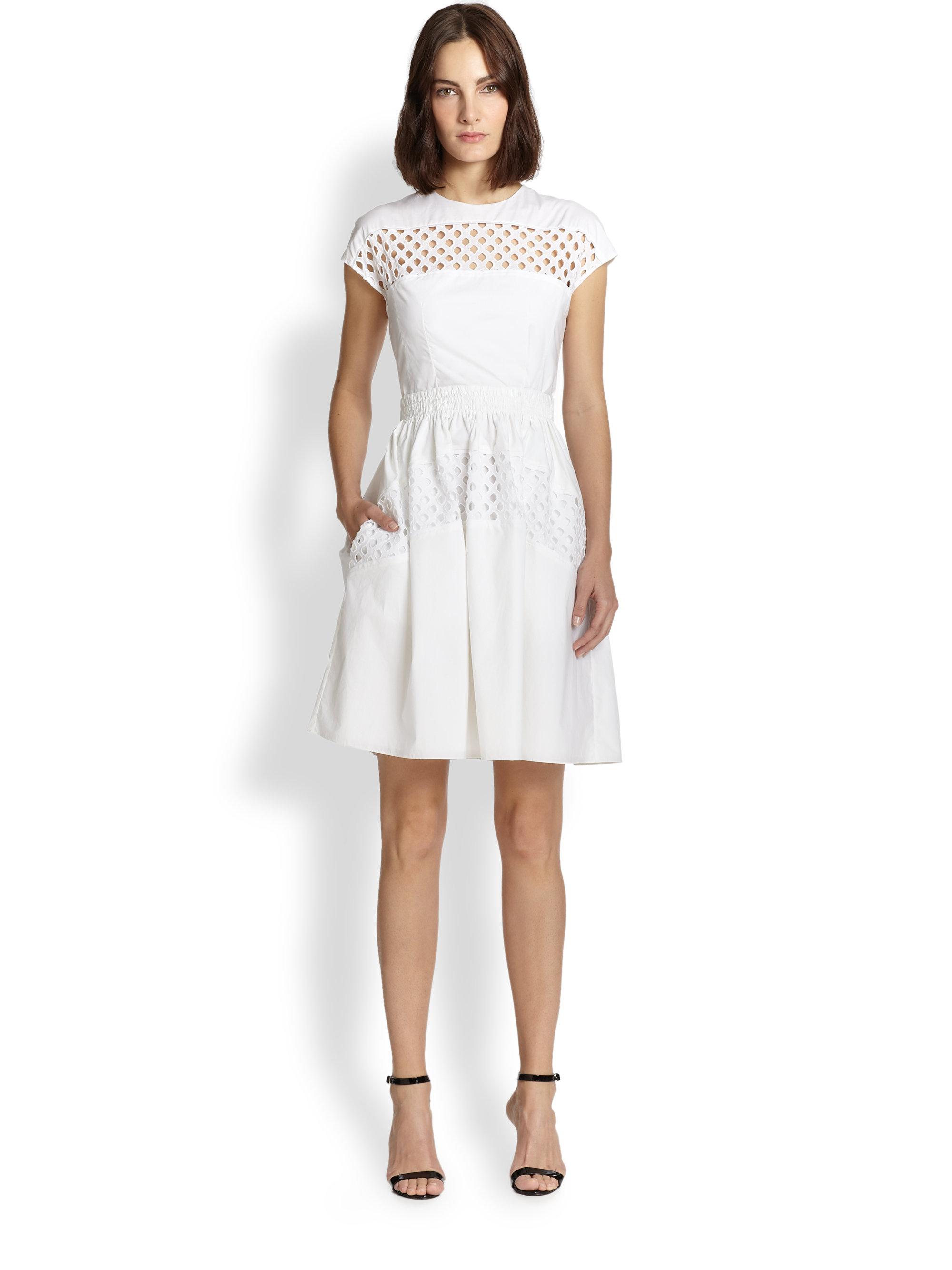 Lyst - Carven Lattice Cut-out Cotton Dress in White