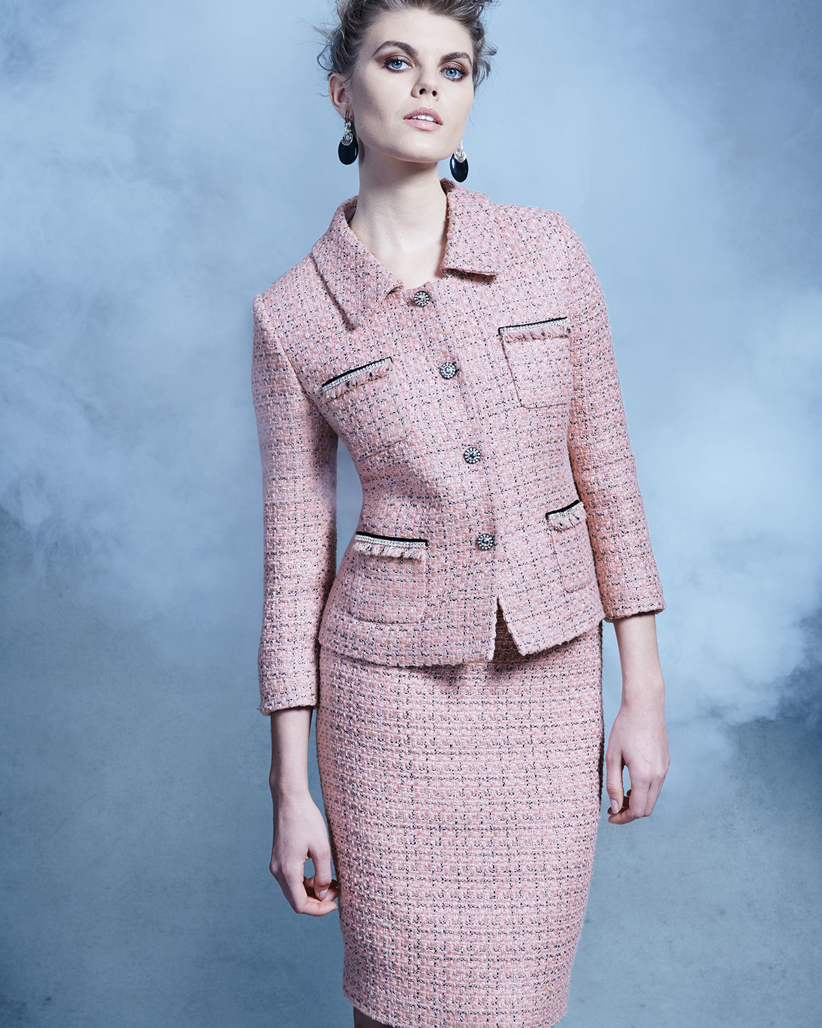 Lyst Tahari Three Quarter Sleeve Tweed Skirt Suit In Pink
