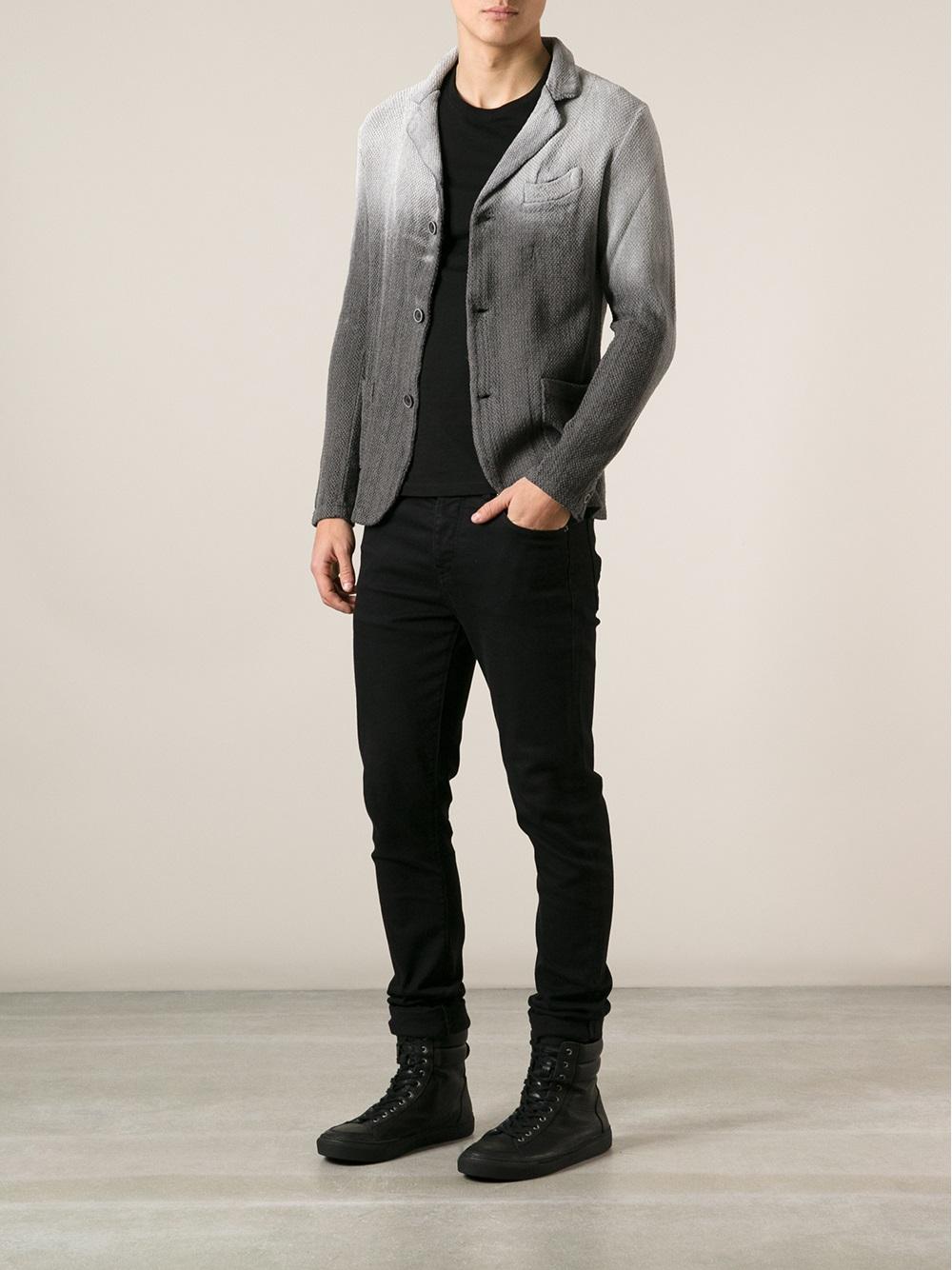 Lyst Avant Toi Faded Blazer In Gray For Men