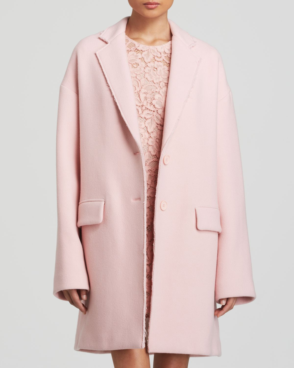 Dkny Wool Blend Coat in Pink | Lyst