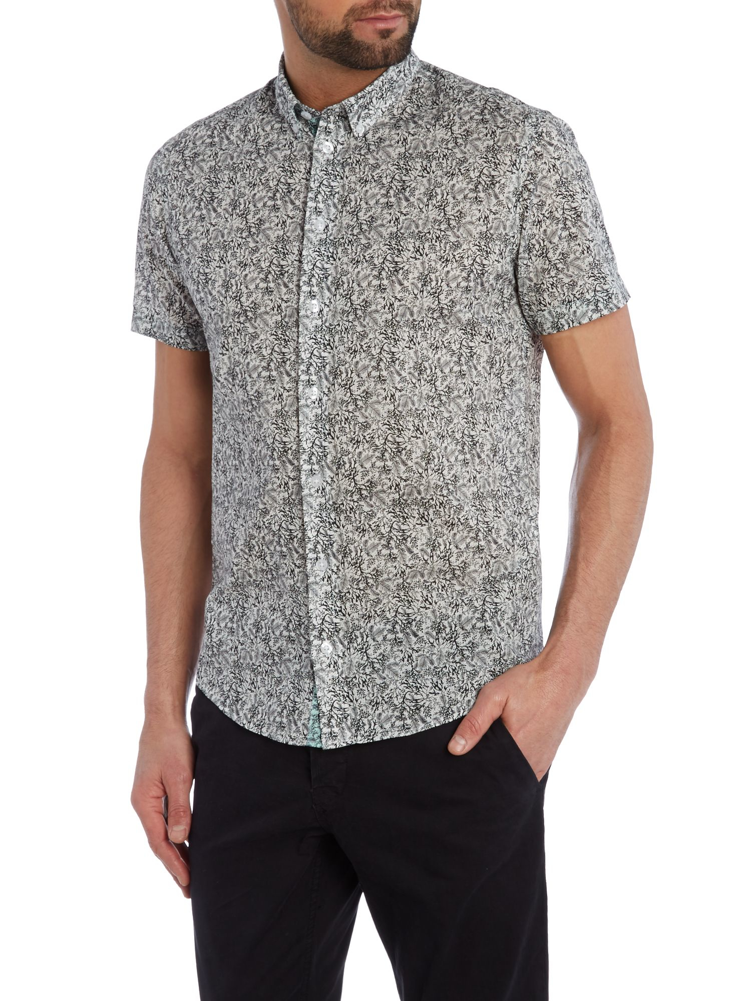 Lyst casual friday print slim fit short sleeve button for Mens dress shirts black friday