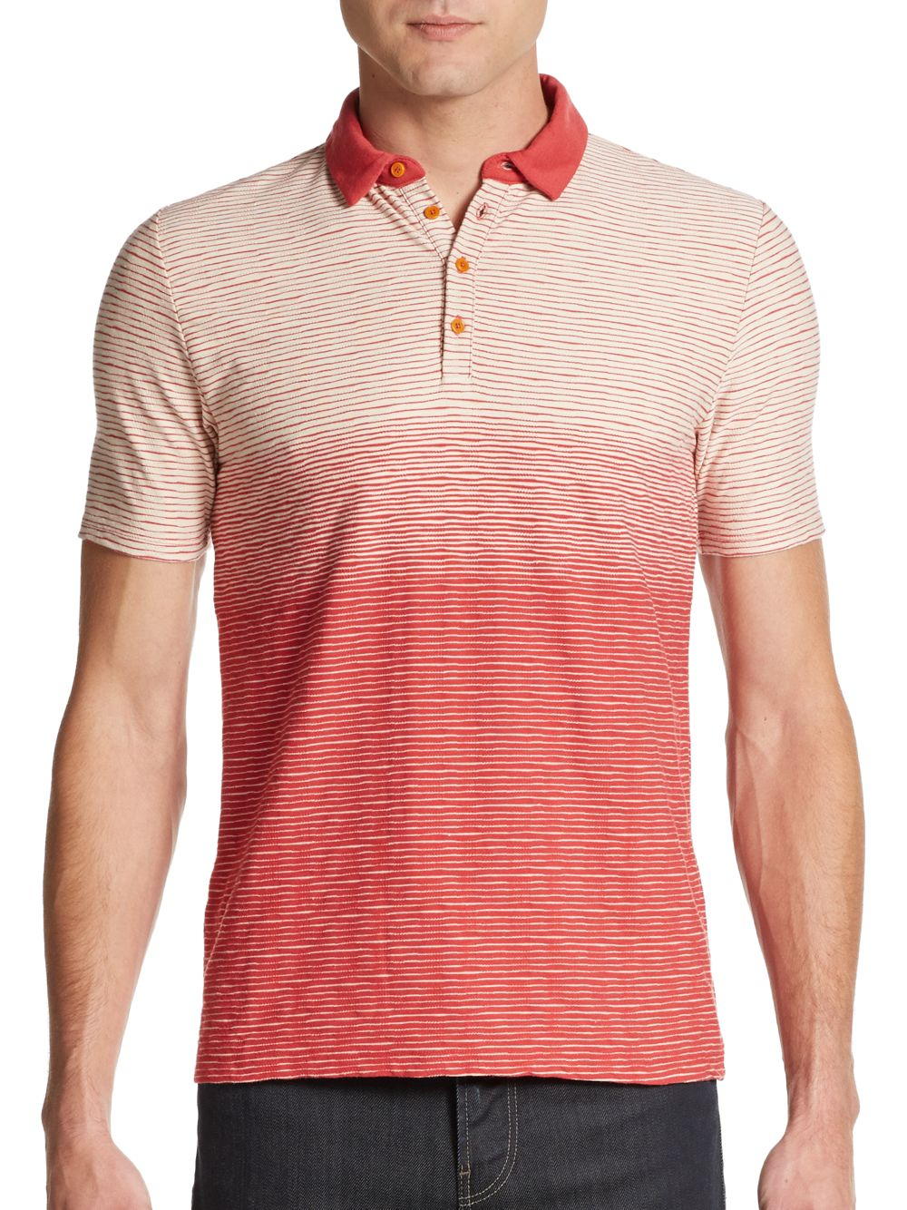 Ben Sherman Sand Formations Striped Polo Shirt In Orange