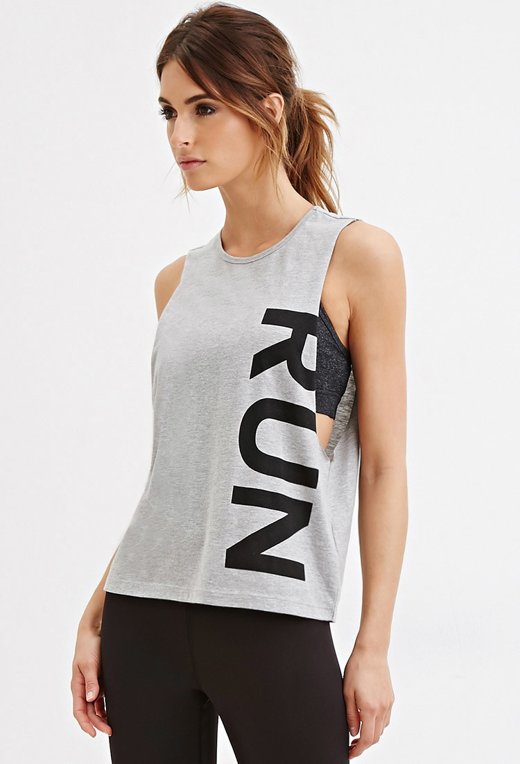 forever 21 active run graphic muscle tee in gray lyst