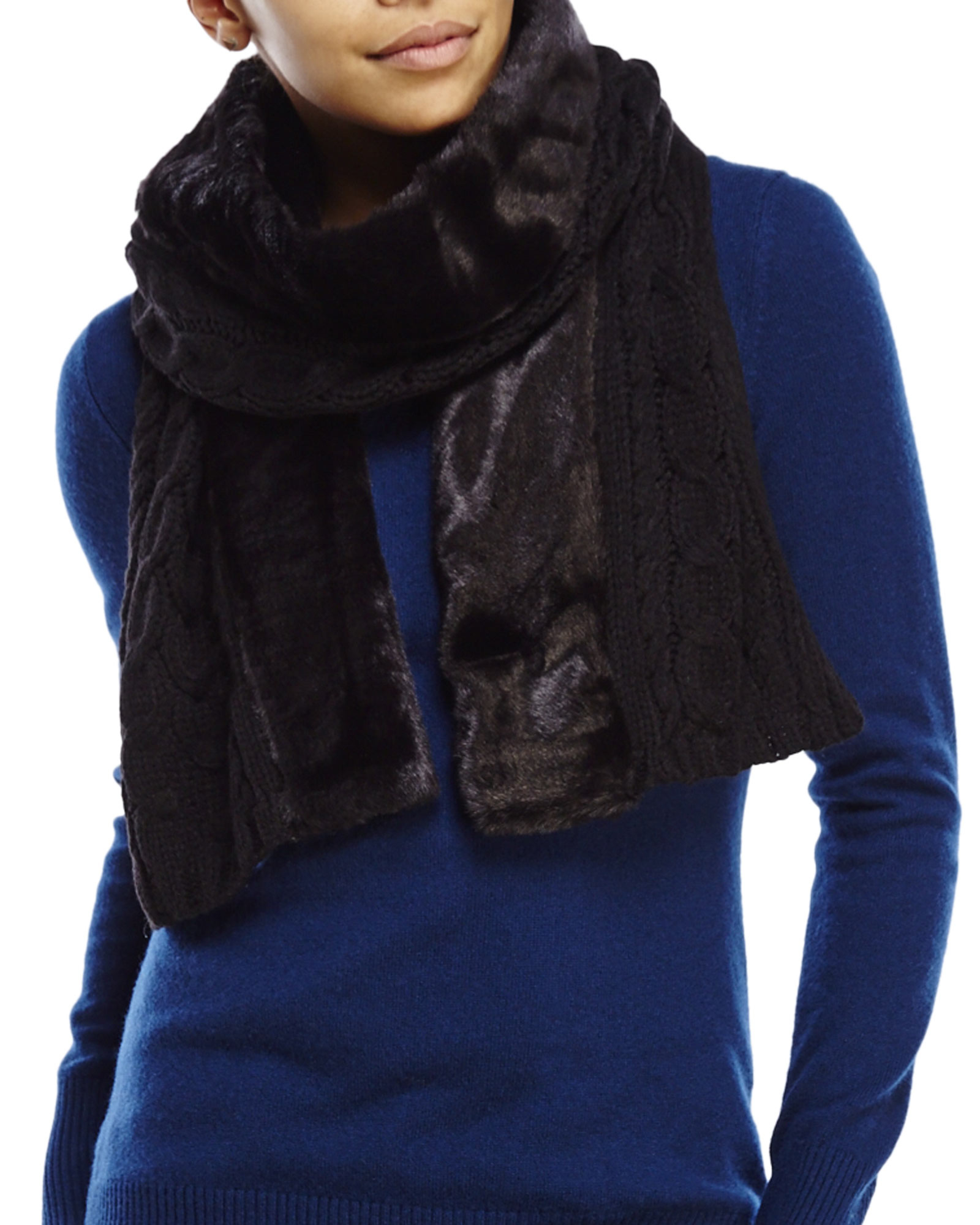 ivanka faux fur trim cable scarf in black lyst