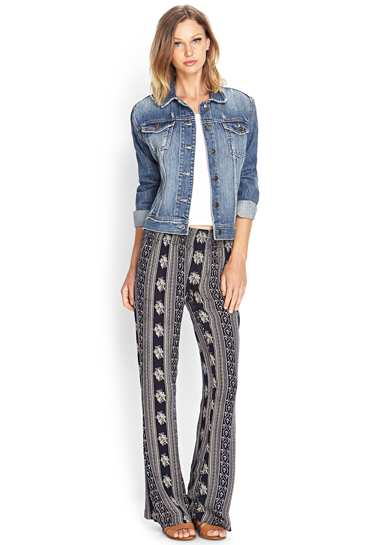 d914f076b7e4b Lyst - Forever 21 Floral Print Wide-leg Pants in Blue