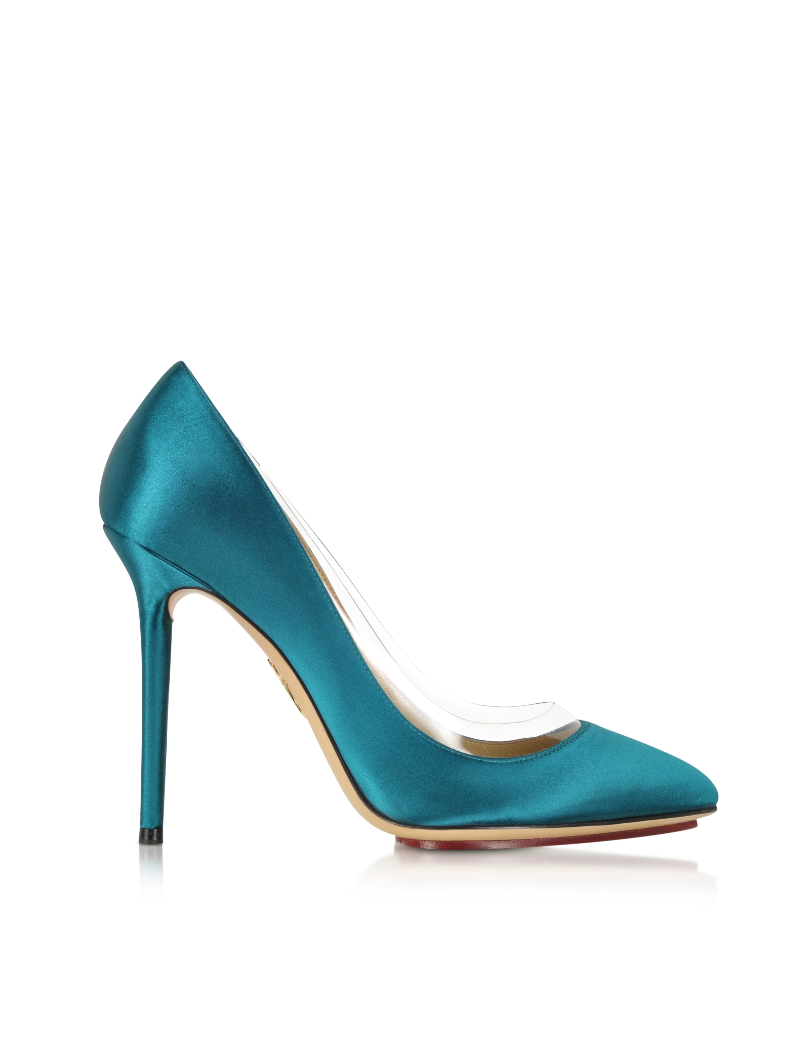 Lyst - Charlotte Olympia Party Shoes 110 Teal Blue Satin Silk   Pvc ... 3c91bbb53c52