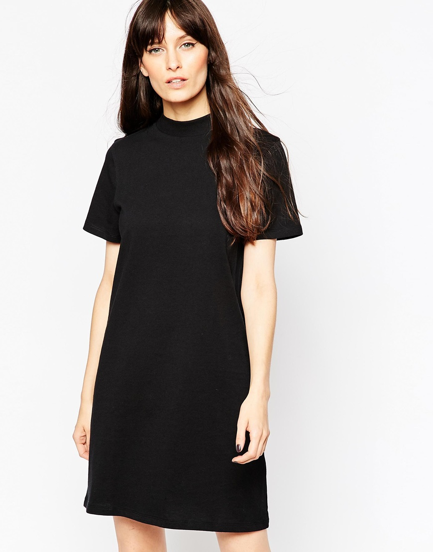 4ecc04fdcc9 ASOS T-shirt Dress With High Neck in Black - Lyst