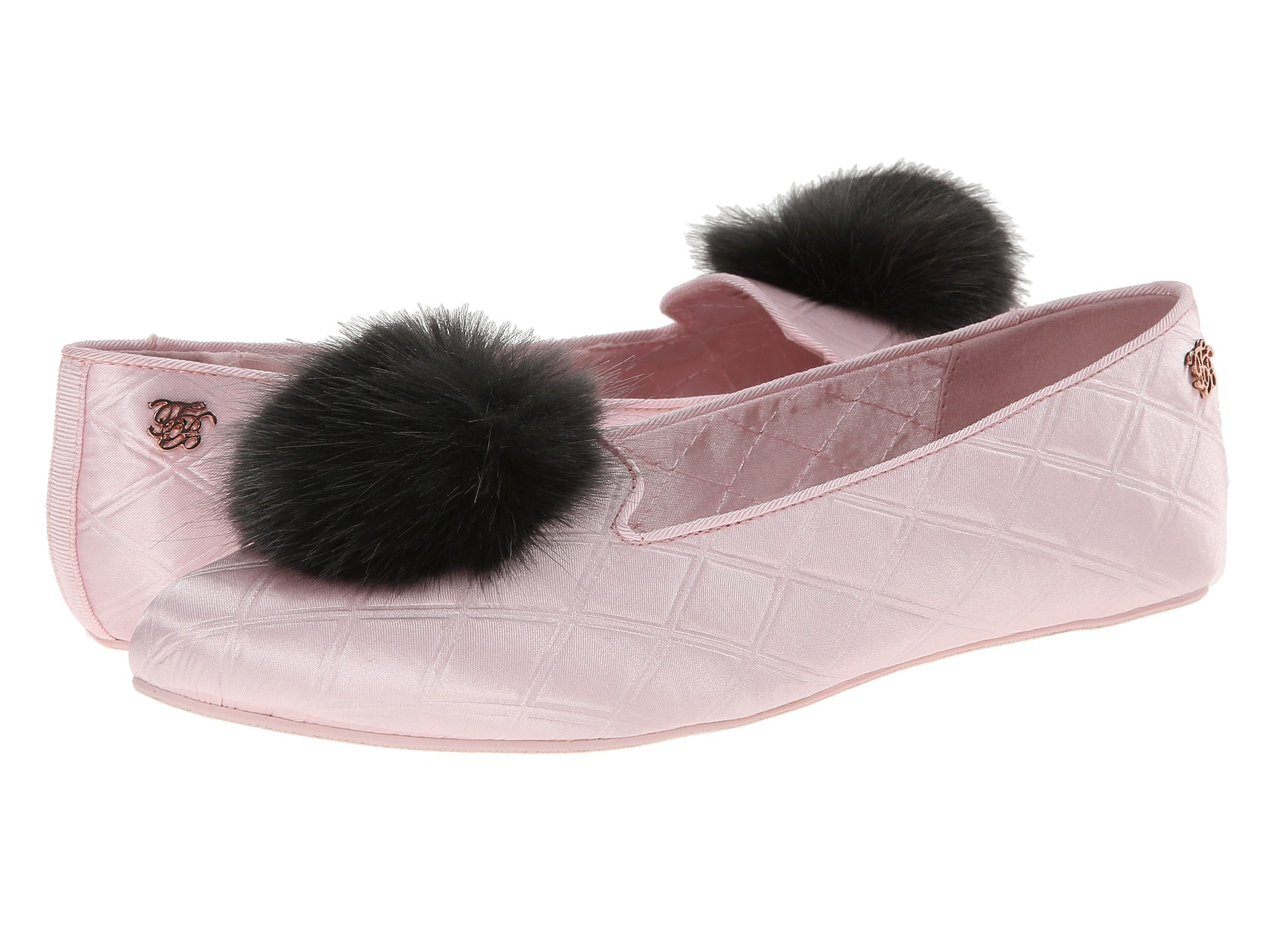 00d3e94e6f5167 Lyst - Ted Baker Iveye Satin Slipper With Faux-Fur Pom in Pink