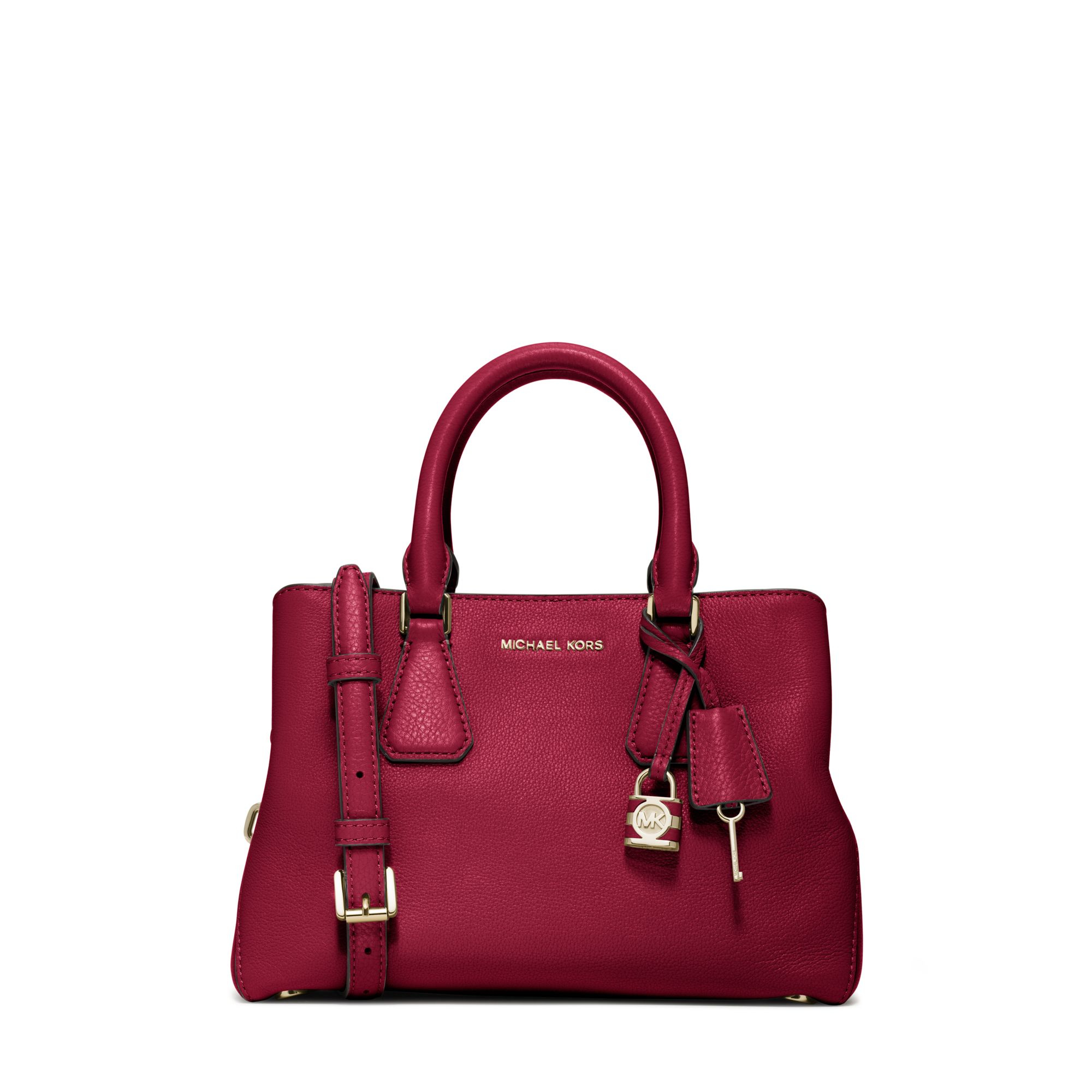 c681d2a06071 Michael Kors Camille Small Leather Satchel in Red - Lyst