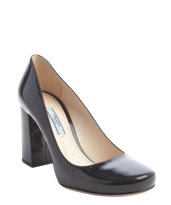 6b5946b378f Prada Black Leather Block Heel Pumps in Black - Lyst