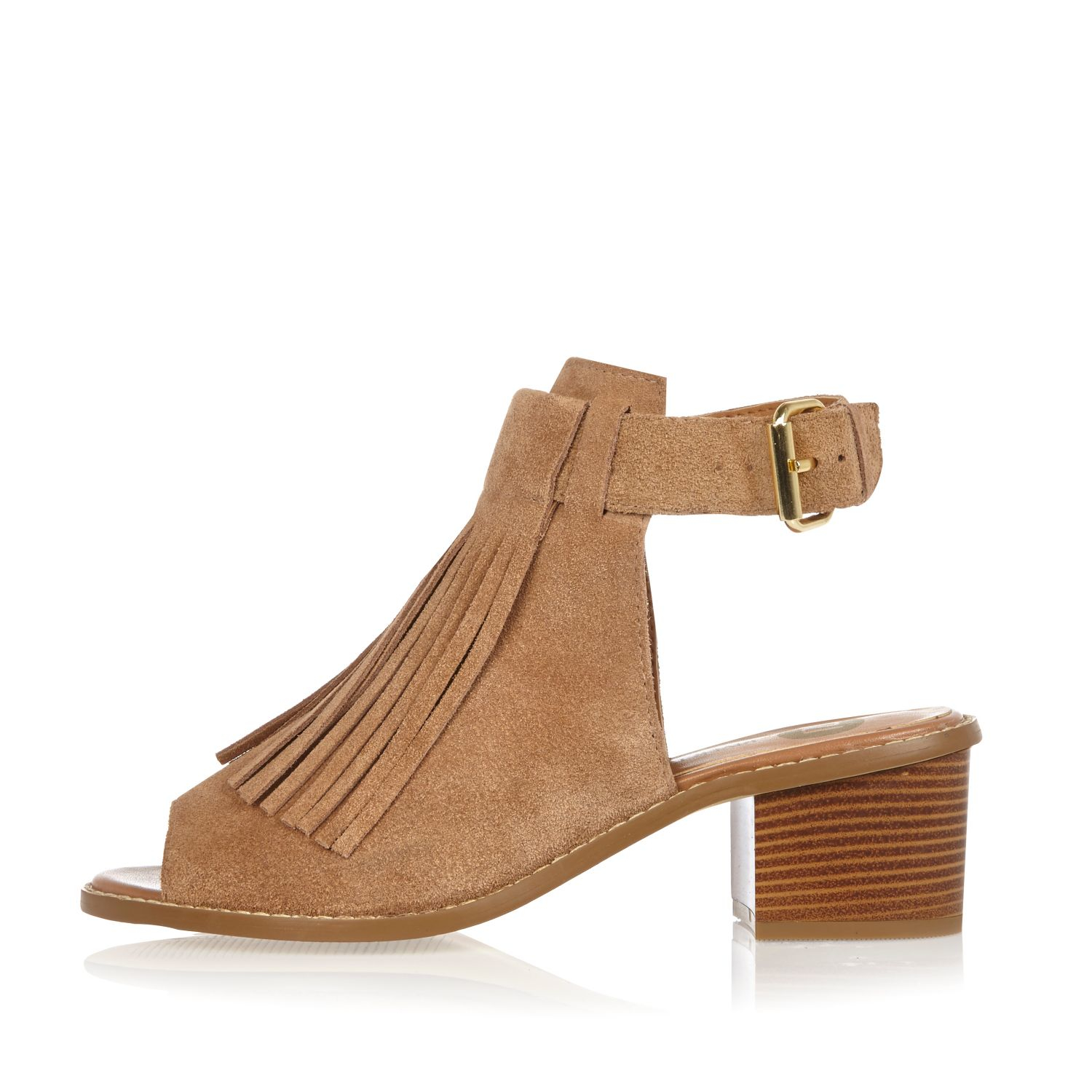 d3acb2e69ade Lyst - River Island Beige Suede Fringed Block Heel Sandals in Natural
