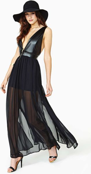 Nasty Gal Night Drift Faux Leather Maxi Dress In Black Lyst