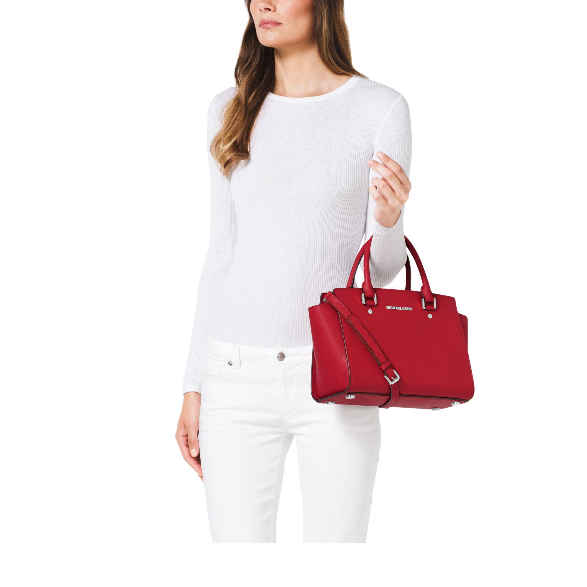michael kors selma medium saffiano leather satchel in red. Black Bedroom Furniture Sets. Home Design Ideas