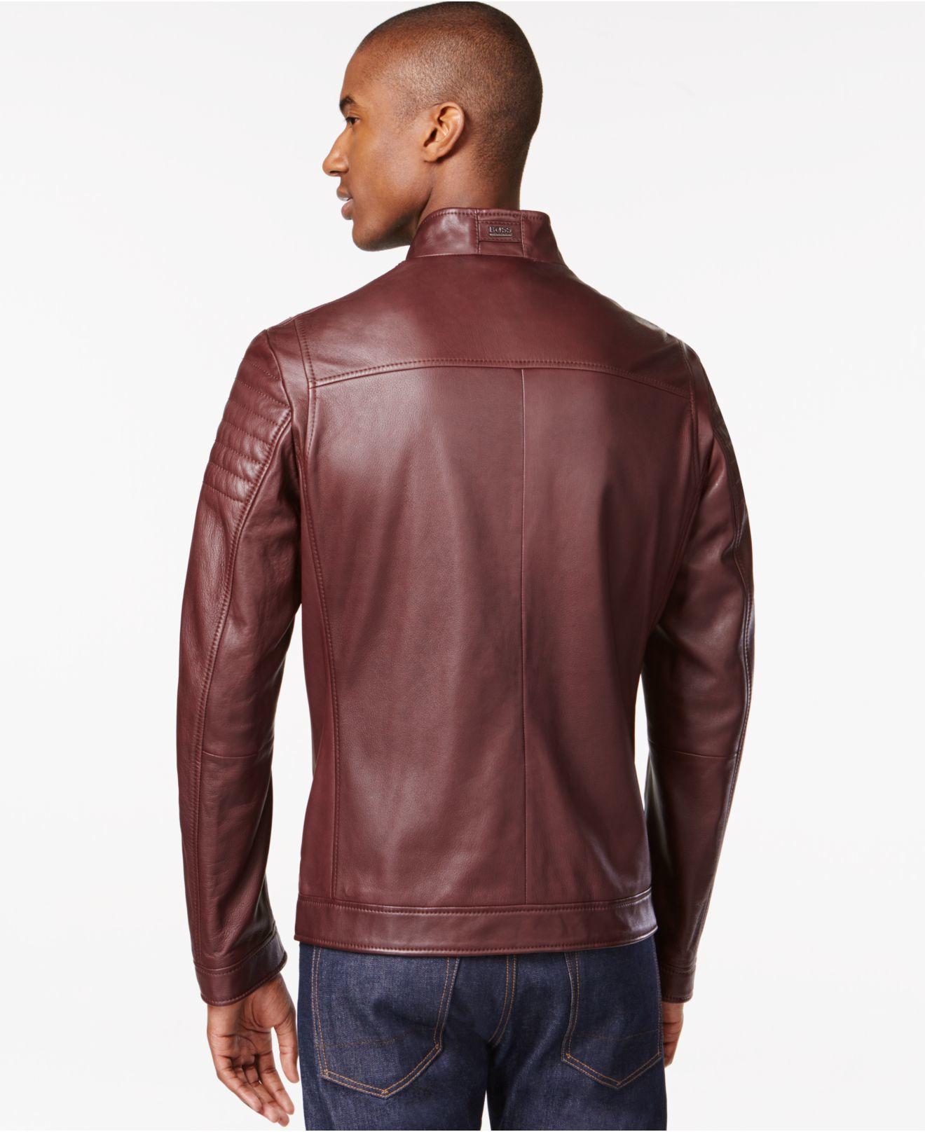 lyst boss boss naquinn lambskin leather jacket in purple. Black Bedroom Furniture Sets. Home Design Ideas