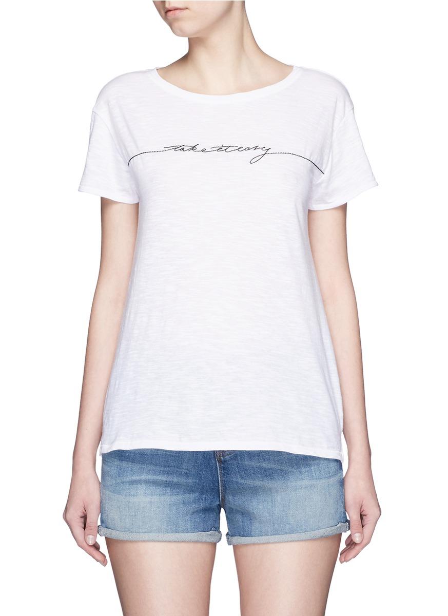 Rag & bone 'x-boyfriend' Slogan Embroidery Pima Cotton T ...