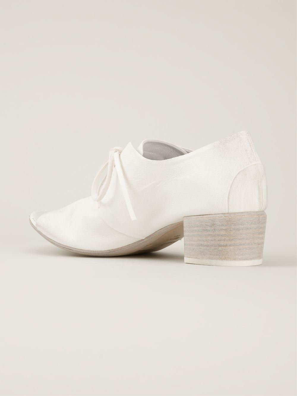 mars 232 ll open toe lace up shoes in white lyst