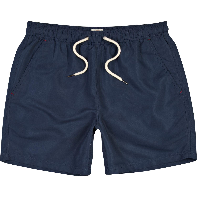 River island Navy Blue Mid Length Swim Trunks in Blue for ...