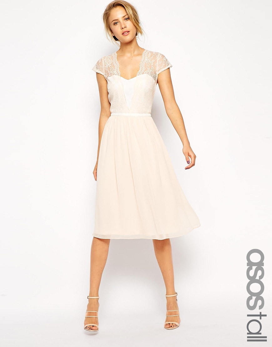 575ec8370d1f ASOS Tall Midi Skater Dress With Scallop Lace And Chiffon in Natural ...