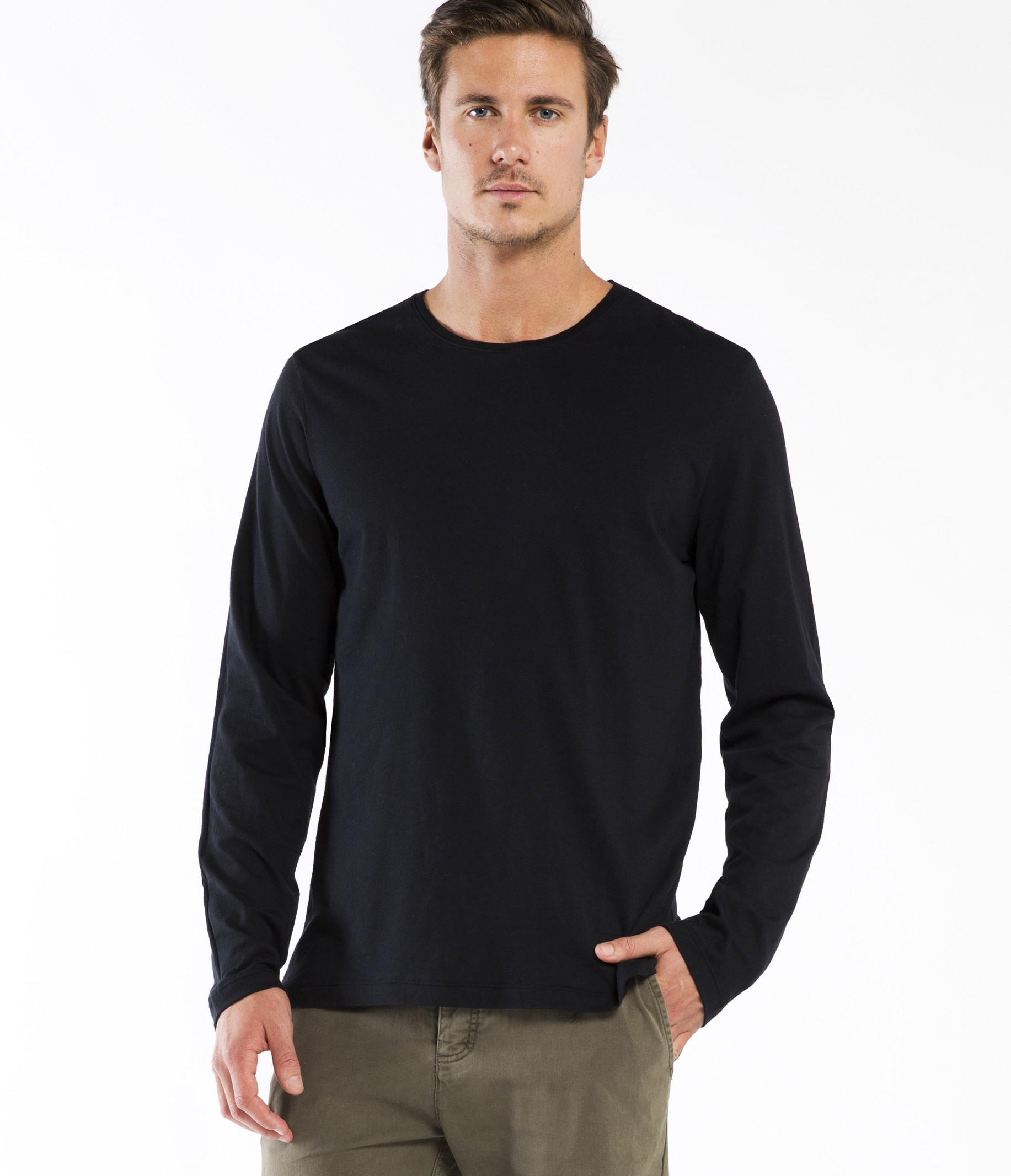 Michael stars pacific long sleeve crew neck tee in black for Michael stars tee shirts