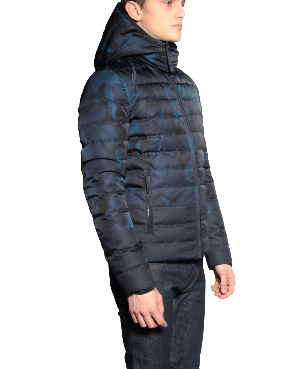 Valentino Quilted Jacket Camouflage In Blue For Men Lyst