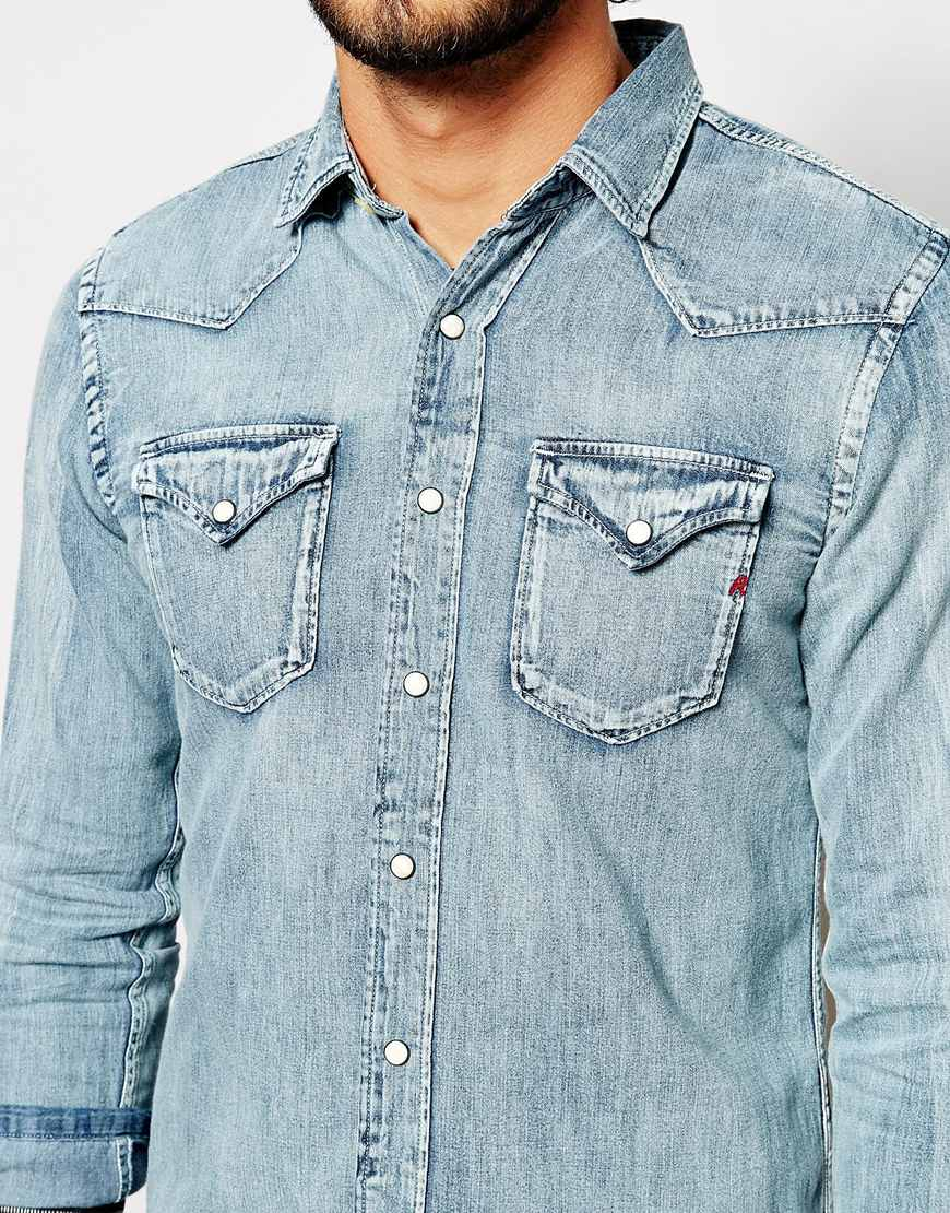 Lyst replay denim shirt western light wash in blue for men for Replay blue jeans t shirt