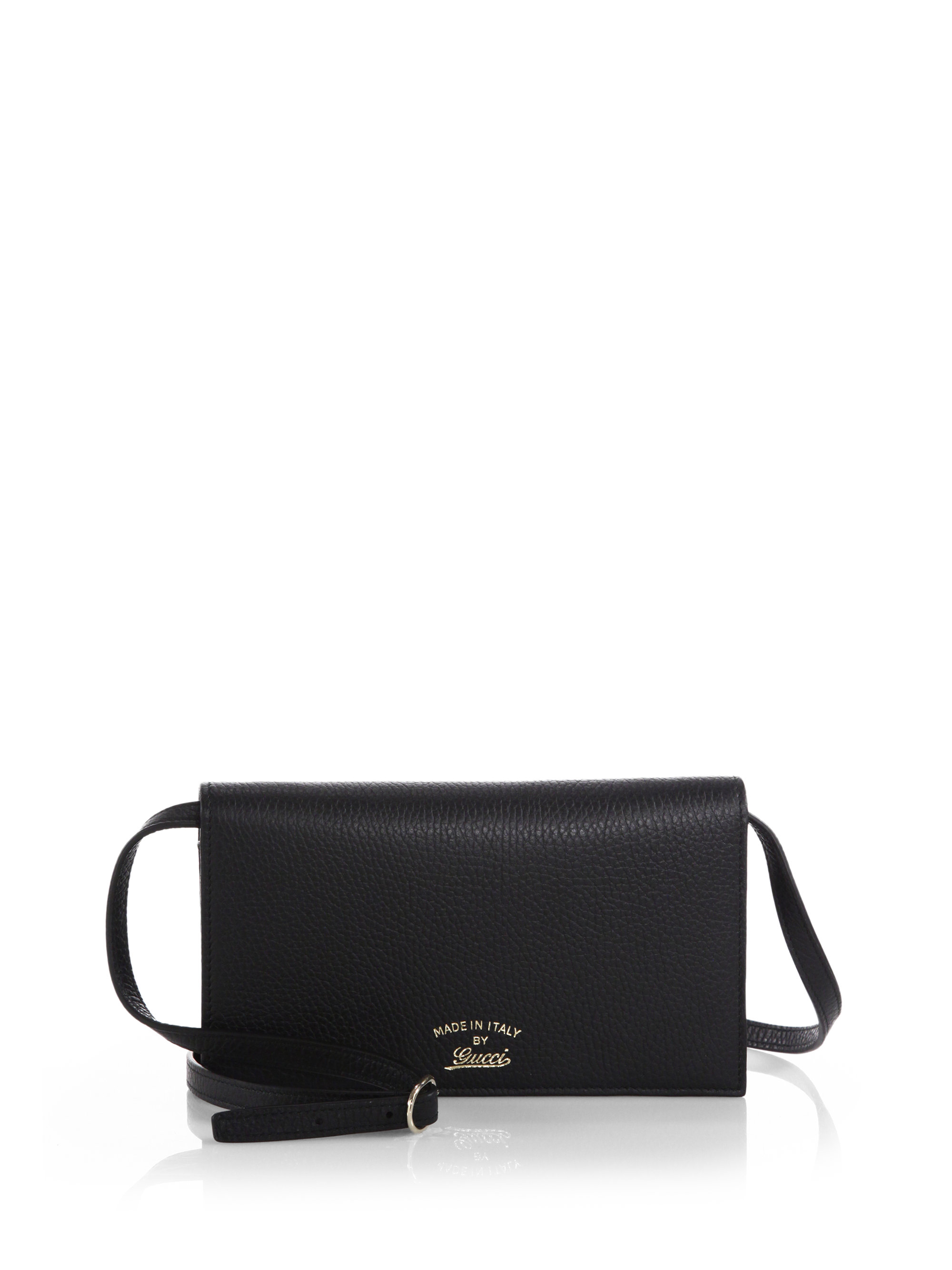 2f83107e231 Lyst - Gucci Swing Leather Wallet With Strap in Black