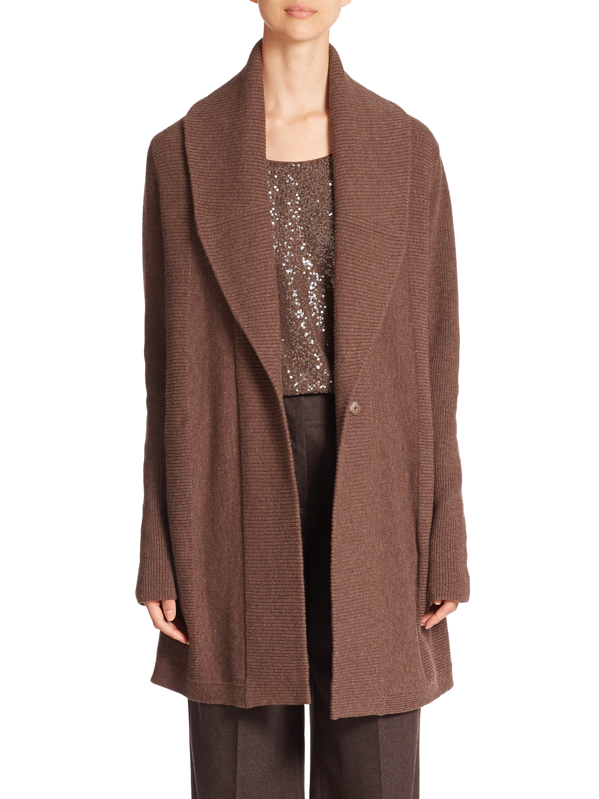 Lafayette 148 new york Ribbed Long Wool Cardigan in Brown | Lyst