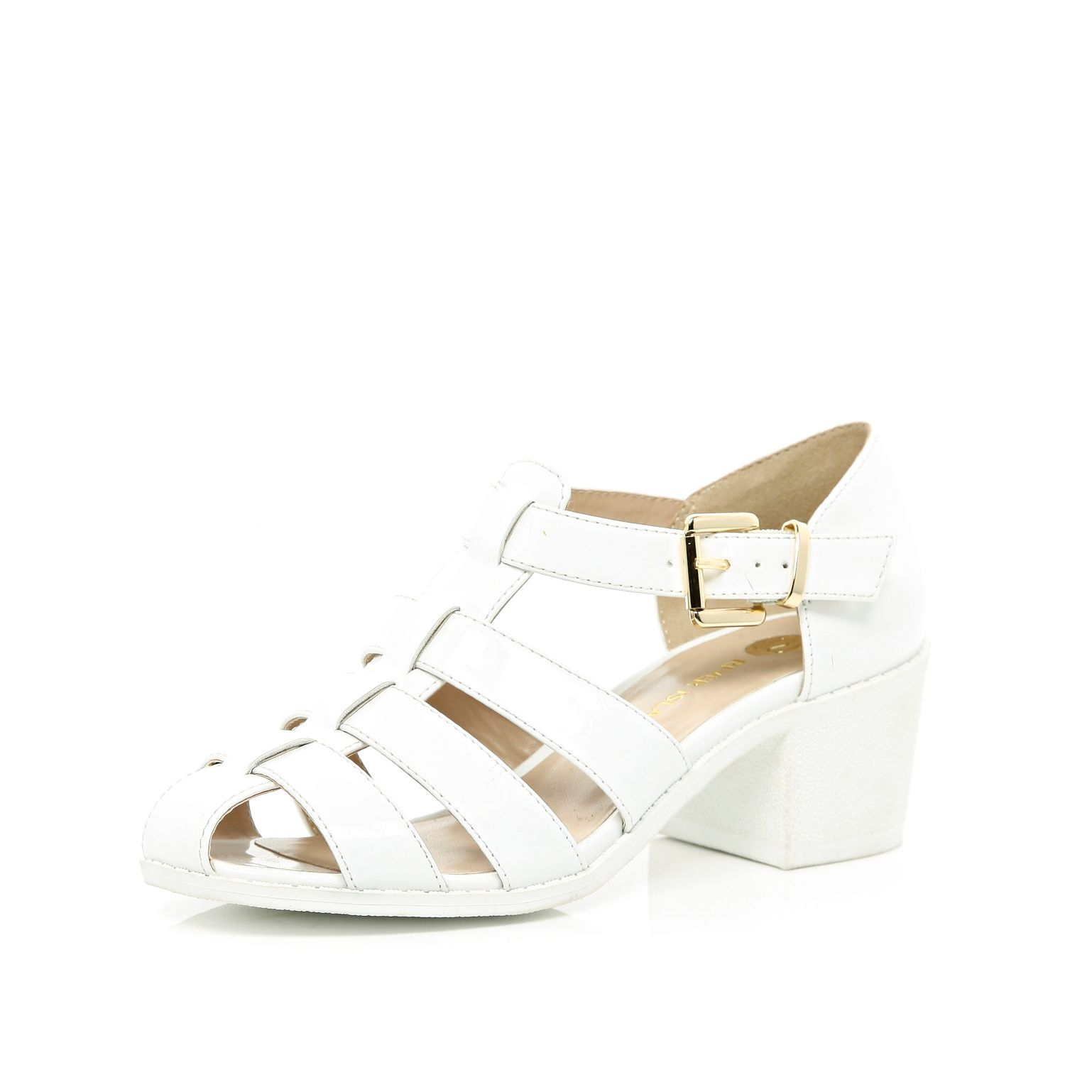 river island white block heel strappy shoes in white lyst