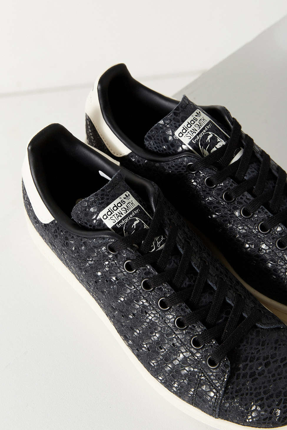 Lyst Adidas Foil Snake Stan Smith Sneaker In Black