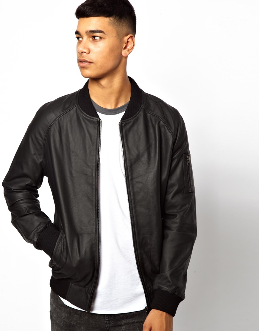Bellfield Leather Bomber Jacket in Black for Men | Lyst