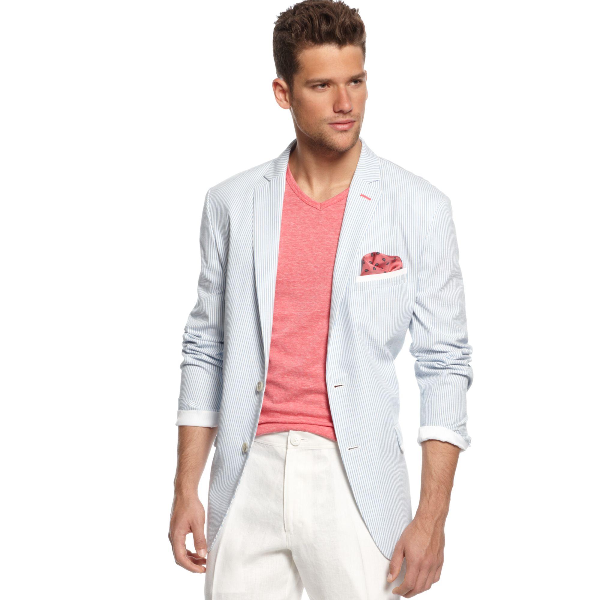 Inc international concepts Slim Fit Seersucker Sportcoat in Blue ...