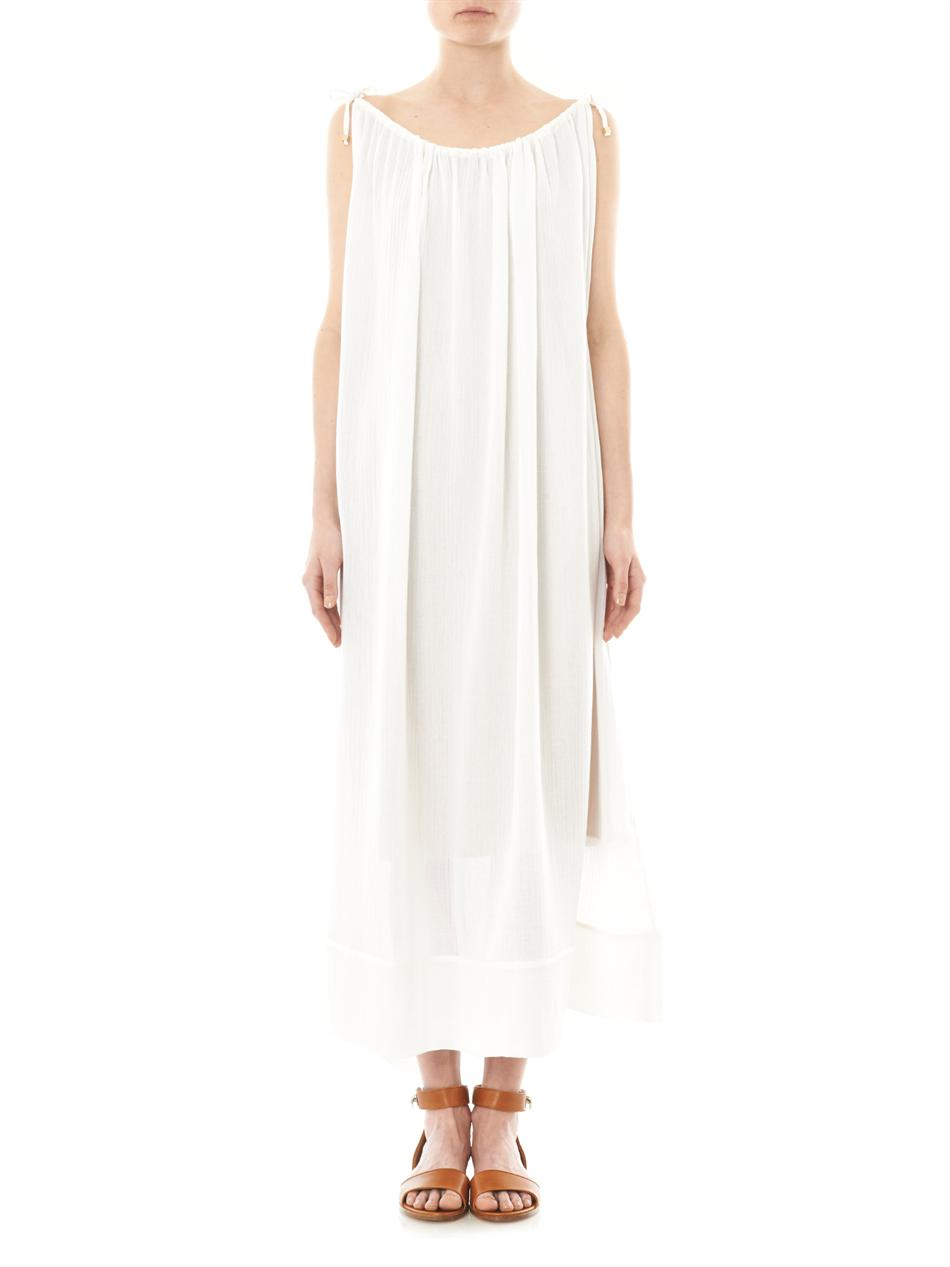 Chloé Cotton Maxi Dress in White | Lyst