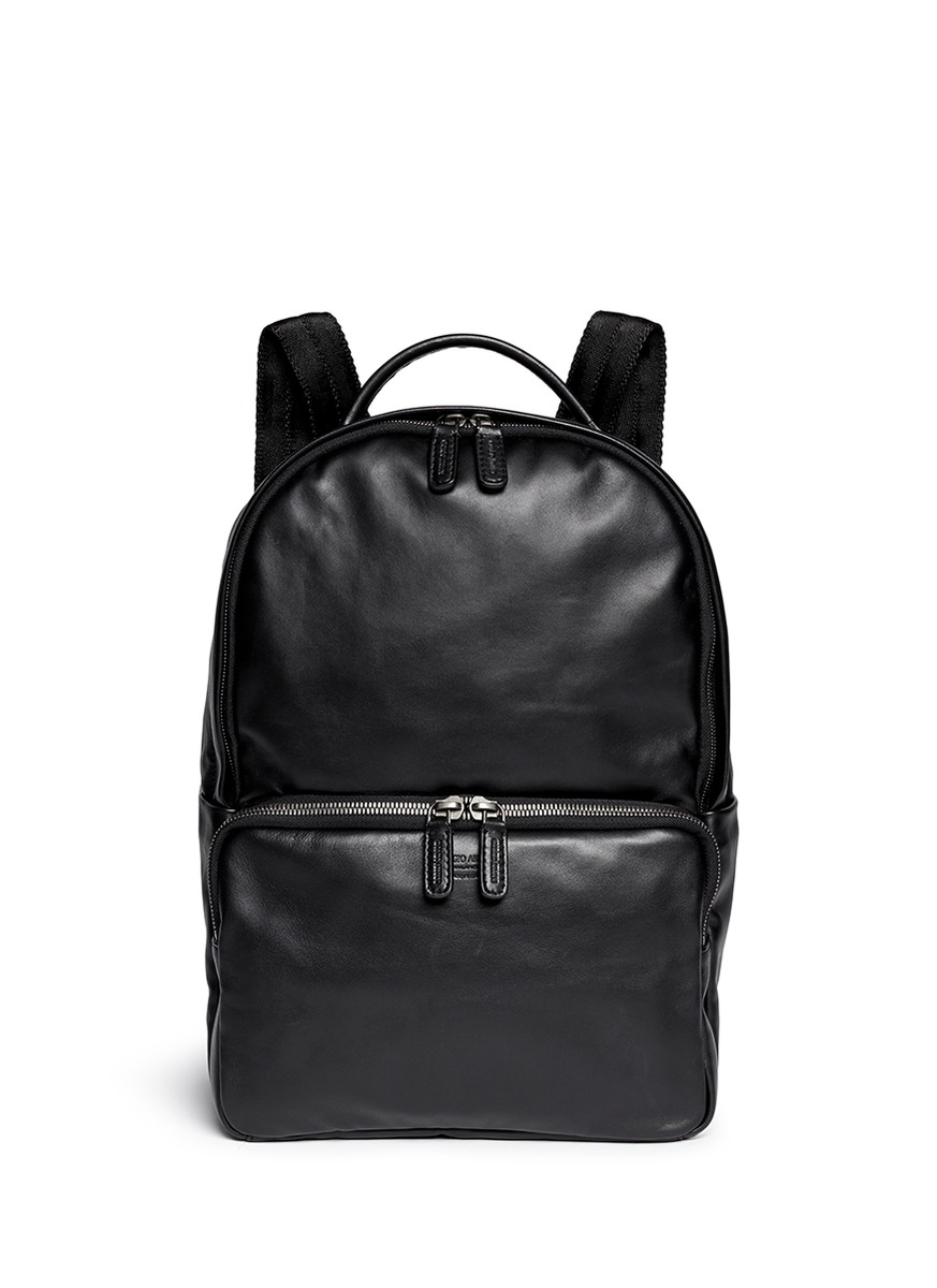 Giorgio Armani Leather Backpack In Black For Men Lyst