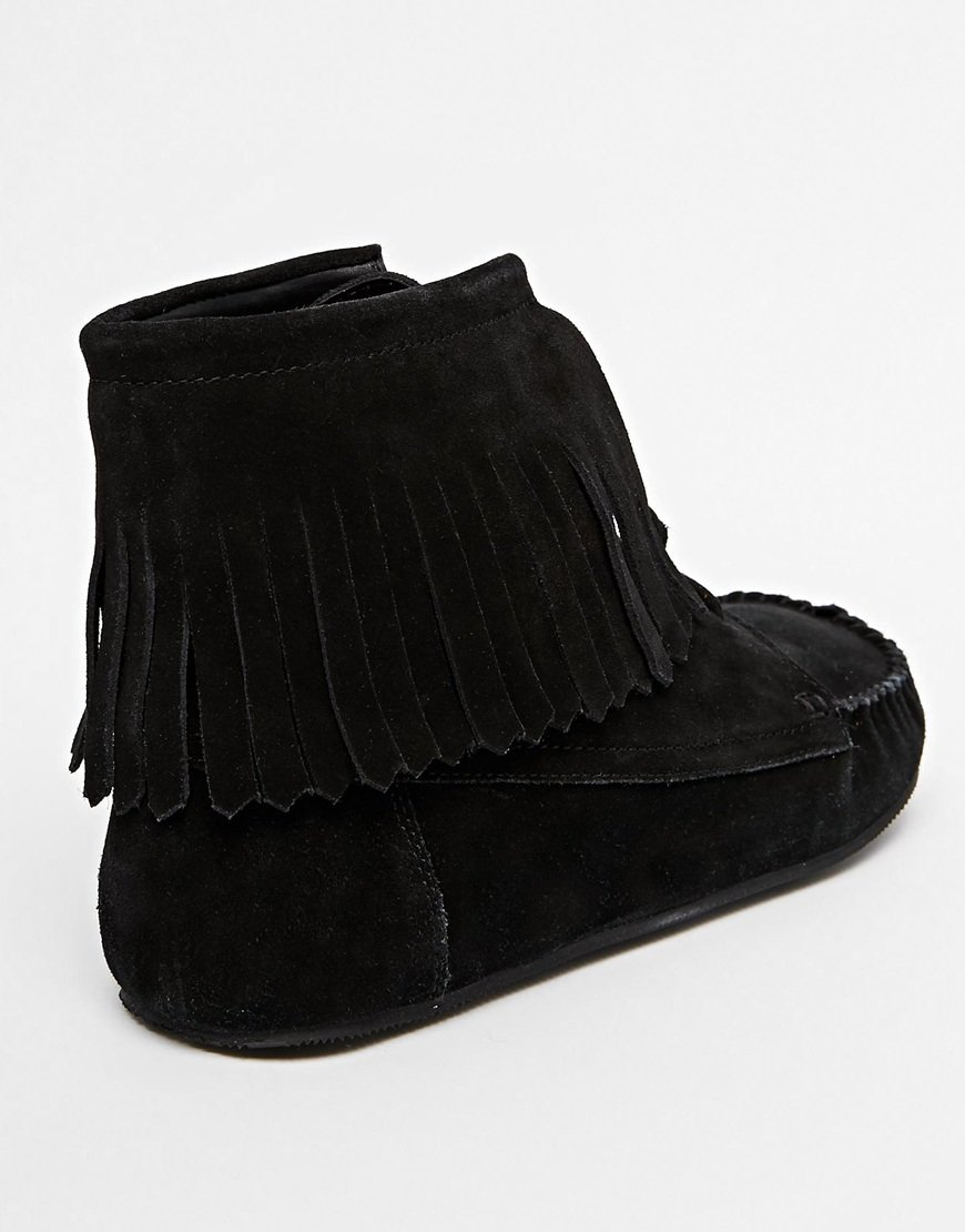 Asos Abbott Suede Fringe Ankle Boots in Black | Lyst