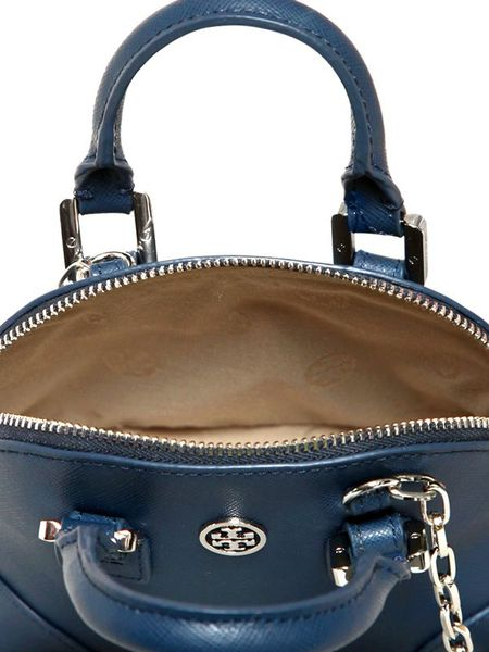 Tory Burch Mini Robinson Saffiano Leather Bag In Blue