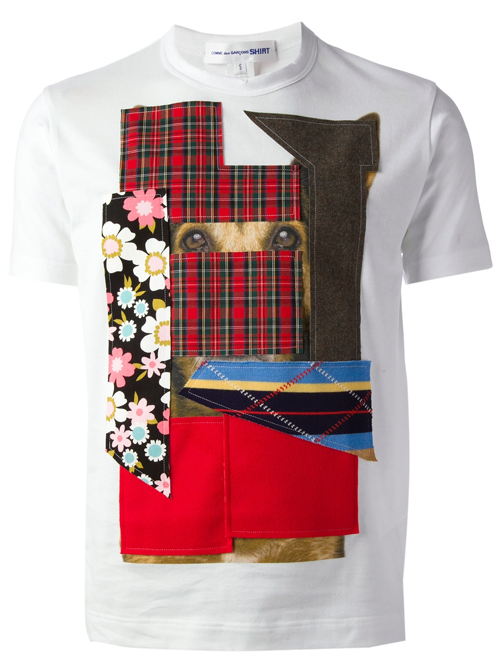 comme des gar ons patchwork tshirt in white for men lyst. Black Bedroom Furniture Sets. Home Design Ideas